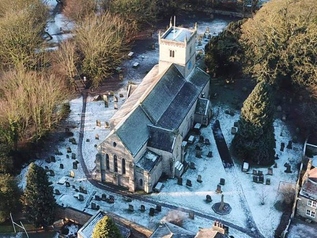The Northern Echo: An aerial view of St Mary's Church, Gainford, where on Palm Sunday an outdoor service will be held to mark the launch of the Way of Life