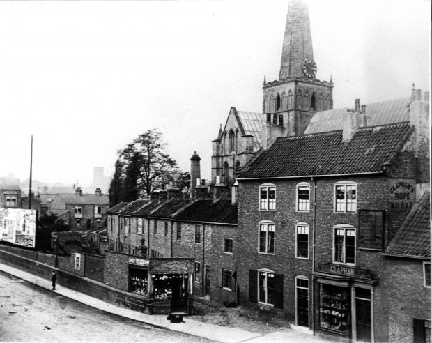 The Northern Echo: Ropery Yard in front of St Cuthbert's Church with Clapham's ropery house on the right which survives as the museum