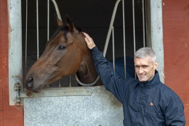 Paul Mulrennan with star filly Mabs Cross at Michael Dods' stables near Darlington