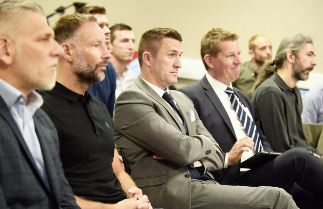 Robbie Keane watches on with the rest of Middlesbrough's new-look backroom team during Jonathan Woodgate's first press conference as head coach
