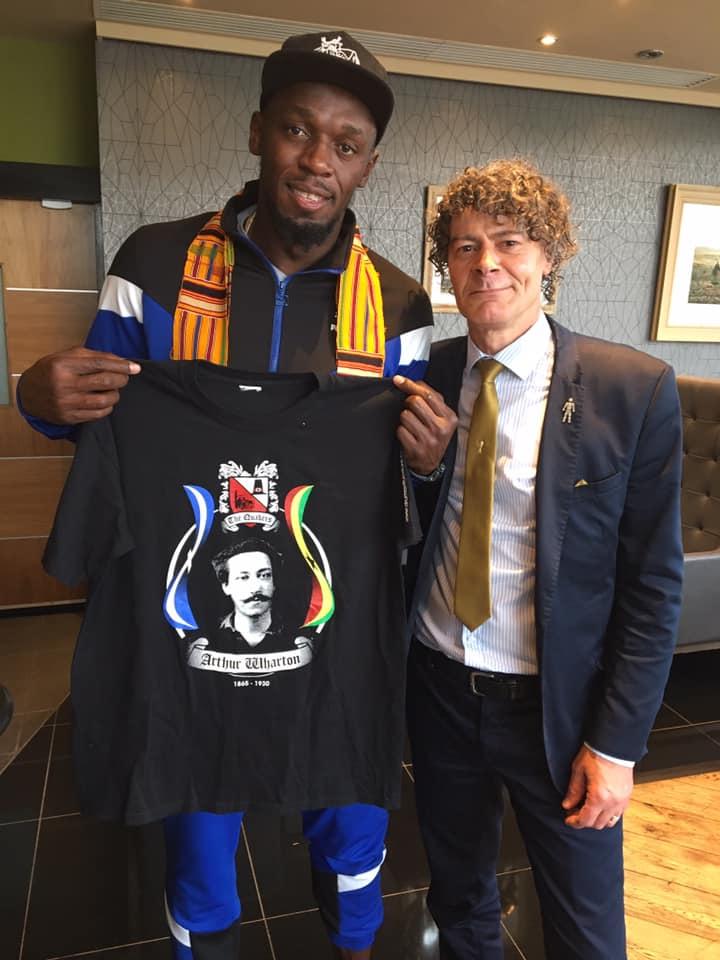 Darlington: Shaun Campbell meets Usain Bolt to share Arthur Wharton's story