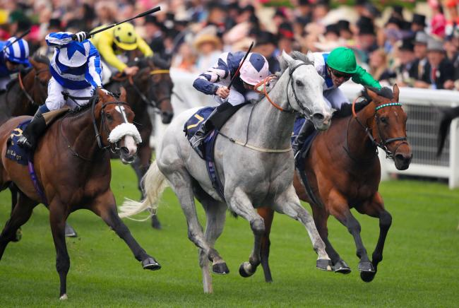 Lord Glitters ridden by jockey Daniel Tudhope on his way to winning the Queen Anne Stakes for David O'Meara