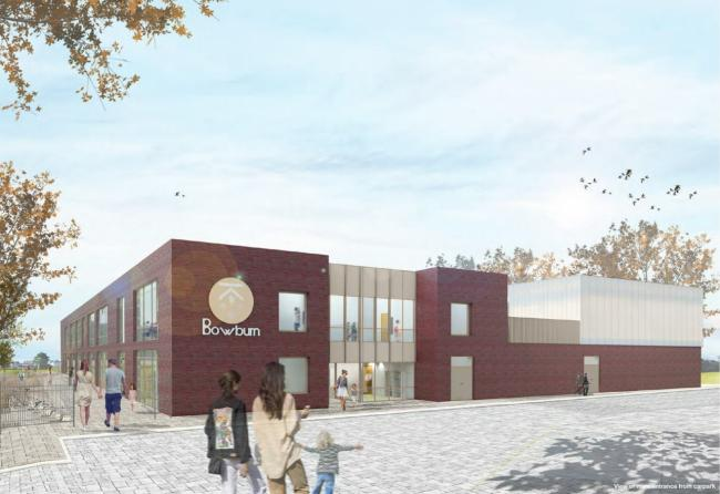 An artist's impression, which may be subject to change, of the new building for Bowburn School. , the layout drawings should be referenced for the full detail