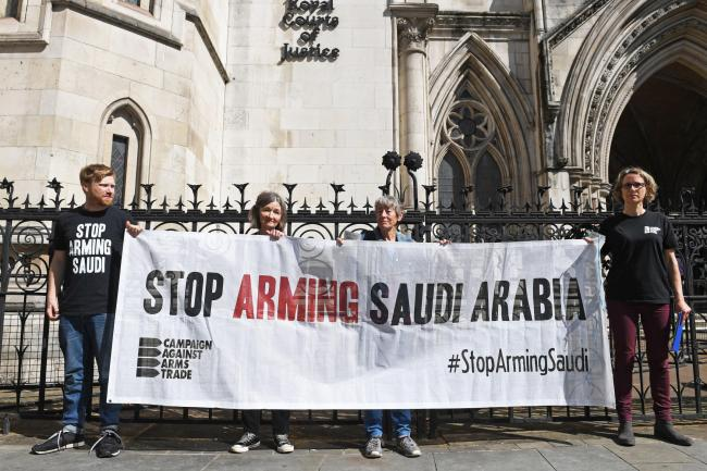 Protesters outside the Royal Courts of Justice, London, ahead of a ruling in the legal challenge over the UK Government's exports of arms to Saudi Arabia. Picture: Stefan Rousseau/PA Wire