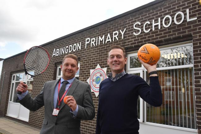 Abingdon Primary School head teacher Adam Cooper, left, and Middlesbrough Mayor Andy Preston, right