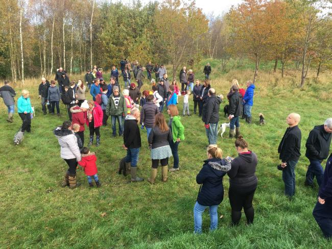 Protestors gather in the amphitheatre area at Skerningham Community Wood