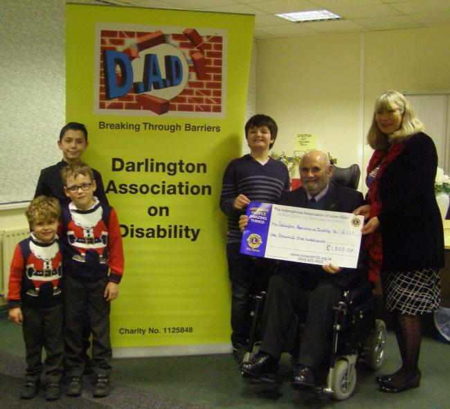 Darlington Association on Disability with an earlier donation for its children's project