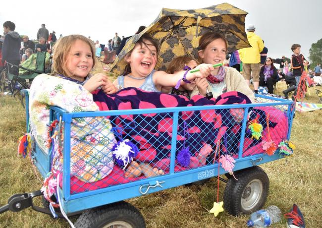 Deer Shed Festival 6 held at Baldersby Park, Topcliffe. Saturday. Pictured from the left are Nina, Mia, Martha and Tilly from Acomb, York. Picture David Harrison..