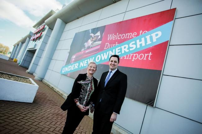 DEAL: Tees Valley Mayor Ben Houchen announces Stobart Aviation deal with Durham Tees Valley Airport. Mr Houchen is pictured with Kate Willard, CEO of Stobart Aviation. Picture: SARAH CALDECOTT
