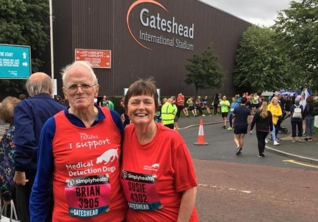 Brian and Susie Hird, who did the Great North 10k on Sunday to raise money for Medical Detection Dogs, a charity which provides life-saving medical alert assistance dogs,which are trained to sniff diseases like cancer, Parkinson's, malaria and type 1