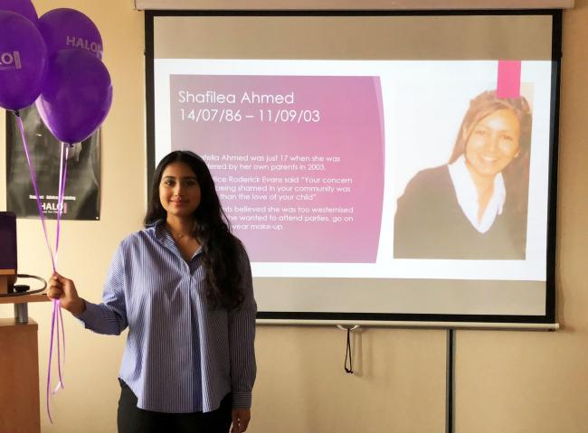 An event held by the Halo Project at the start of a week of action to raise awareness of forced marriage and 'honour-based' violence
