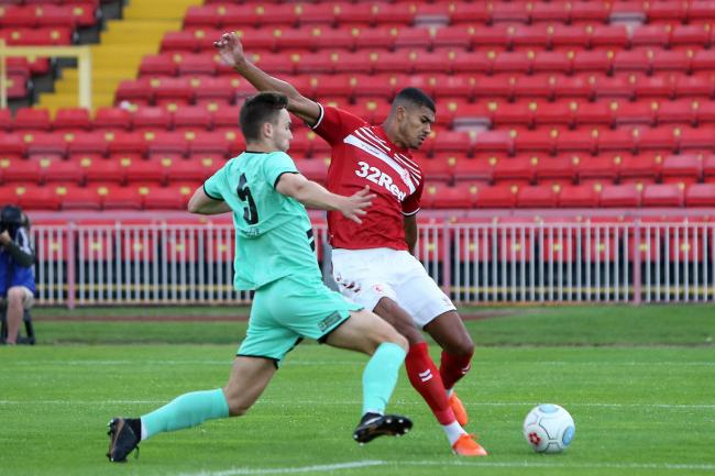 Ashley Fletcher fires in a shot during Middlesbrough's win at Gateshead (Picture: Tom Banks)