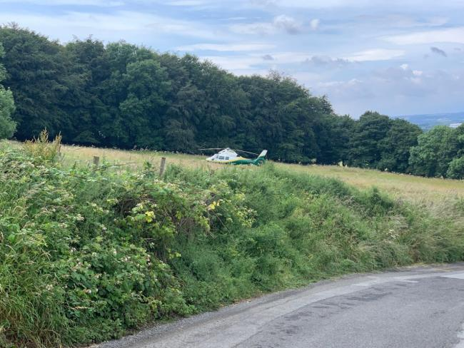 Air ambulance on scene near Penshaw yesterday