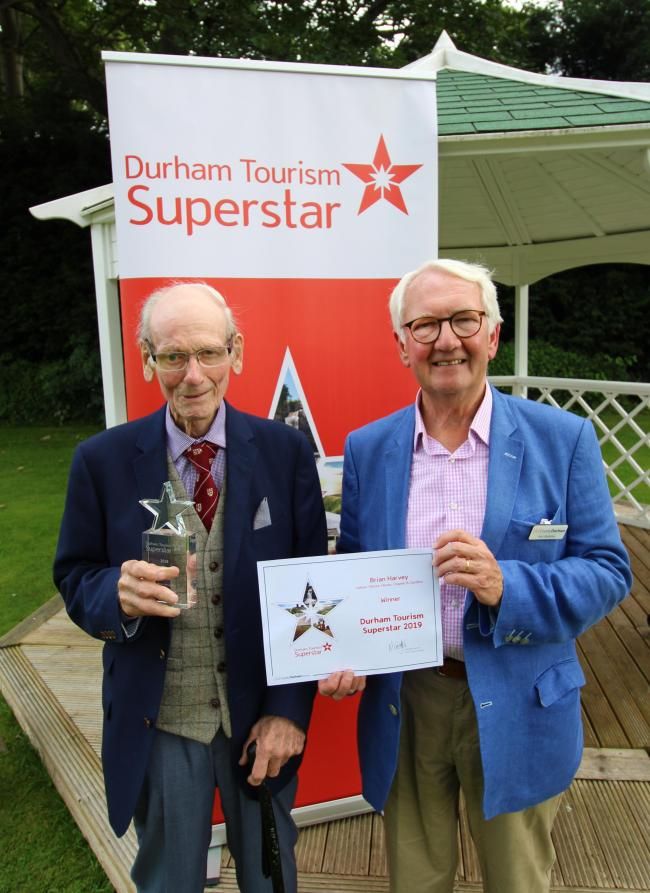 Durham Tourism Superstar Brian Harvey, from Ushaw College with Visit County Durham Chairman Ivor Stolliday