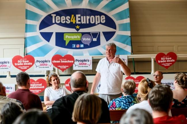 Darlignton MP Jenny Chapman, left, with Scott Hunter of Tees4Europe. Picture: SARAH CALDECOTT