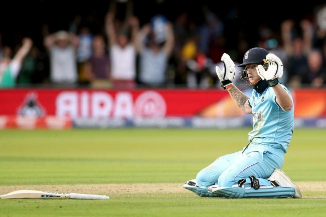 England's Ben Stokes reacts after the ball hits his bat while running between the wickets during the ICC World Cup Final at Lord's, London. Picture: Nick Potts/PA Wire