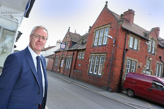 Hambleton District Council Leader, Councillor Mark Robson pictured outside the Lambert Hospital in Thirsk