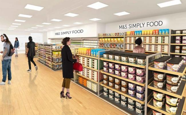 An artist's impression of the M&S Simply Food concession in Darlington's WHSmith