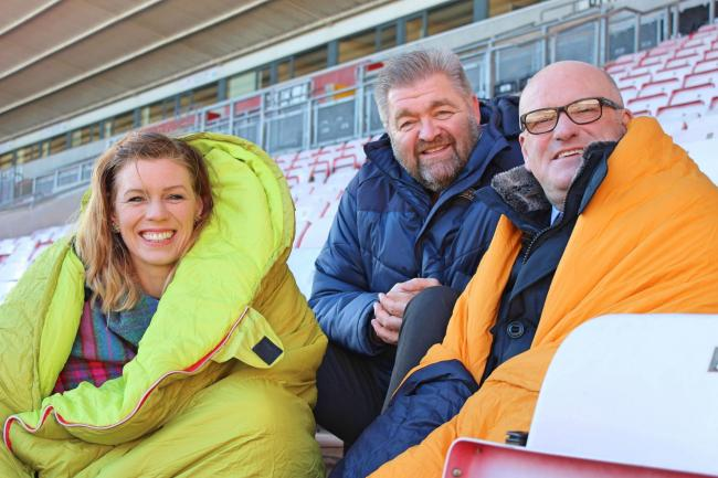 Bianca Robinson, chief executive of Sleepout, Mick Birch of Mowden Park RFC and Mike Matthews