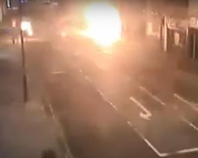 Watch the moment fish and chip shop arsonist turns himself into a human fireball