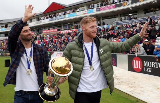Ben Stokes and Mark Wood with Cricket World Cup at Emirates Riverside on Friday.  Picture: Scott Heppell/PA Wire