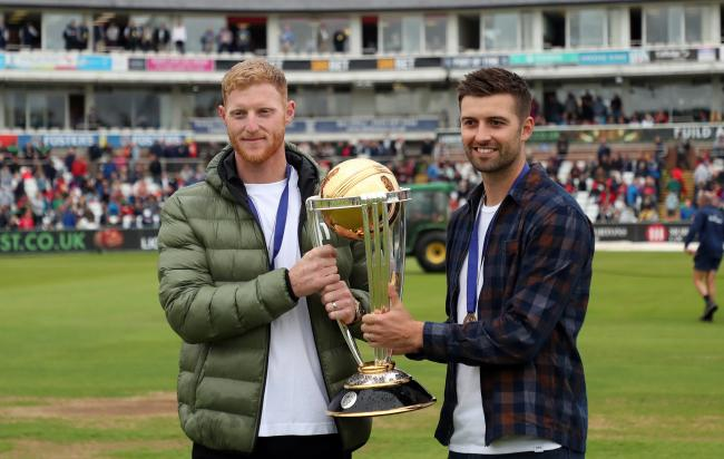 Ben Stokes  and Mark Wood show off the Cricket World Cup at Emirates Riverside last week