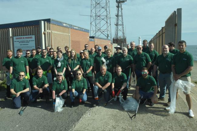 The team from PD Ports following the South Gare beach clean-up