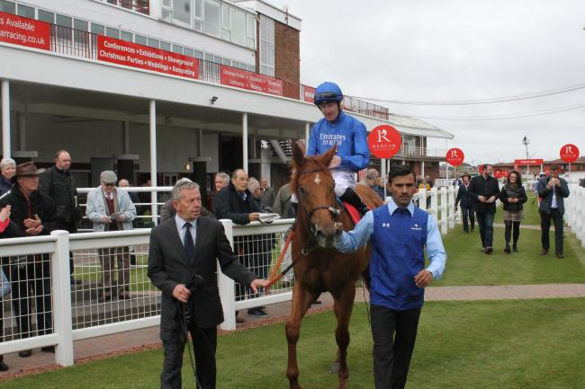 Pat Cosgrave after winning on Gentle Look at Redcar in May. Picture: Peter Barron