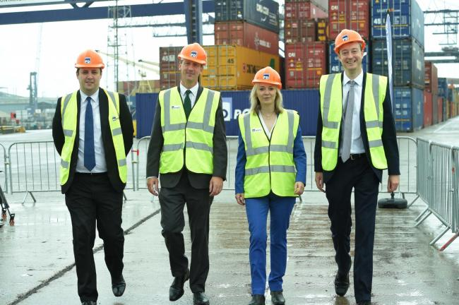 Ben Houchen, Frans Calje, chief executive officer at PD Ports, Liz Truss, and Simon Clarke Picture: DOUG MOODY