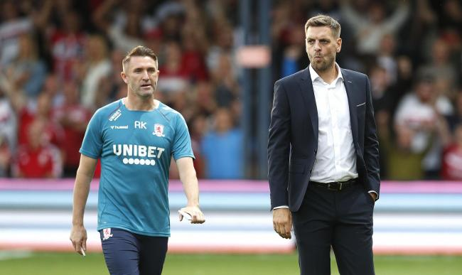Middlesbrough manager Jonathan Woodgate (right) and coach Robbie Keane during the Sky Bet Championship match at Kenilworth Road, Luton. PRESS ASSOCIATION Photo. Picture date: Friday August 2, 2019. Photo credit should read: Darren Staples/PA Wire. RESTRIC
