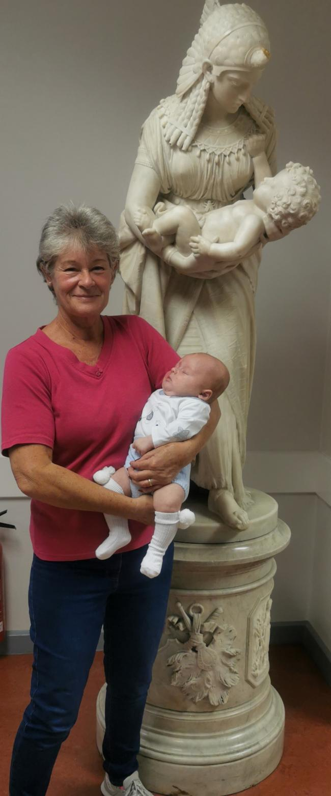Lesley Brown with Bertie, the last baby she delivered at Darlington Memorial Hospital