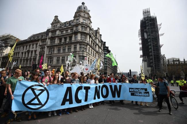 Extinction Rebellion protesters at Parliament Square in Westminster. Picture: Kirsty O'Connor/PA Wire