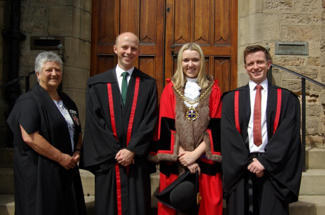 Left to right:   Kathleen Vasey Warden of the Drapers Company, Durham City Freemen, Alexander William Watson - Lee, Councillor Katie Corrigan Mayor of Durham and James Kenneth Watson-Lee.