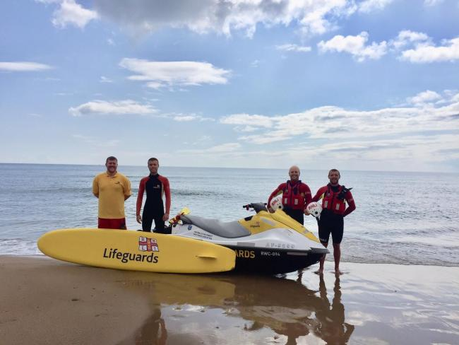 Pictured, from left, are RNLI Lifeguards Joe Wilson, Tom Hughes, Andrew Brown and Adam Blenkinsop. Picture: LILY HUMPHRIES