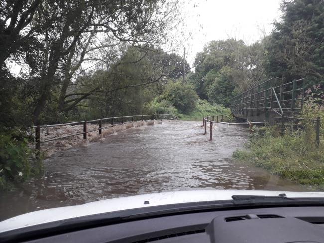 The unclassified road between Broadgate Farm, near Esh Winning, and New Brancepeth, was closed due to flooding