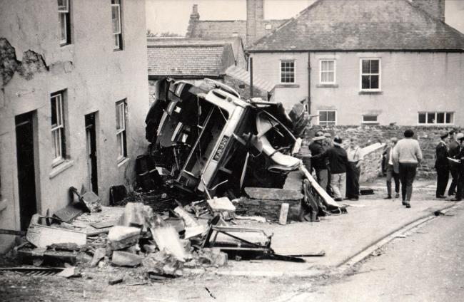 The scene of the aftermath of the Crawleyside bus crash, August 14, 1969