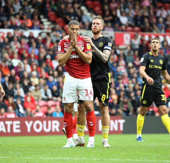 Rudy Gestede shows his disappointment in Middlesbrough's defeat to Brentford.