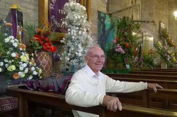 Green-fingered Norman Deacon at the church flower festival