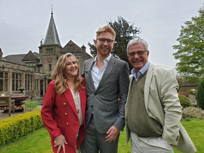 Jake Dinsdale, managing director of Simonstone Hall near Hawes, flanked by Steph and Dom Parker of Gogglebox fame who filmed an episode of their new show in the Dales