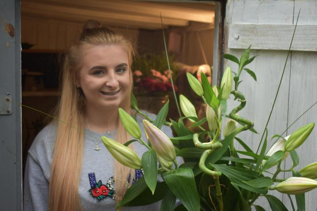 Mya Saville, 18, from Witton Gilbert, has started her own floristry business, working out of her mam's garden shed