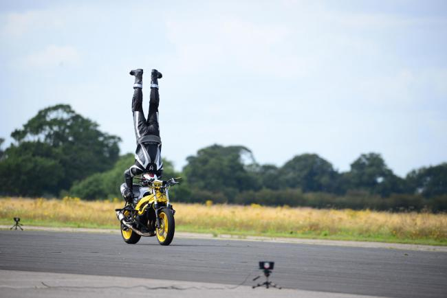 Marco George clocked a speed of 76.1764mph at the Straightliners World's Fastest Wheelie Competition at the Elvington airfield in North Yorkshire on Saturday