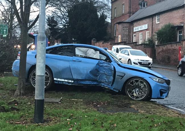 Teenage driver Mitchell Welch wrote-off his dad's BMW M4 in collision with tree in Victoria Road, Darlington, on December 20, 2017  Picture: GEORGIA BANKS