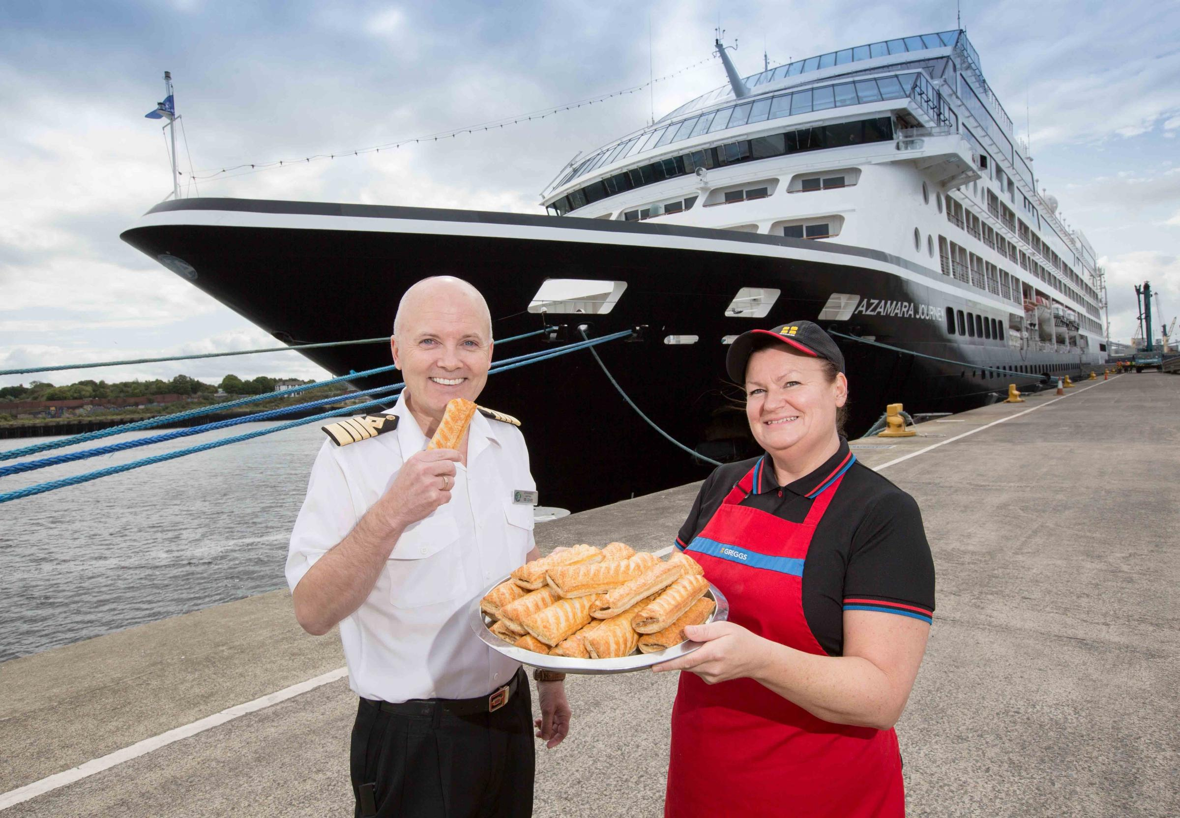 Azamara Journey orders Greggs while docked at North Shields