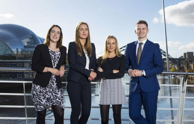 Paula Normington and Lauryn Hellewell, with fellow Muckle apprentice solicitors Anna Douglas and Ben Evans
