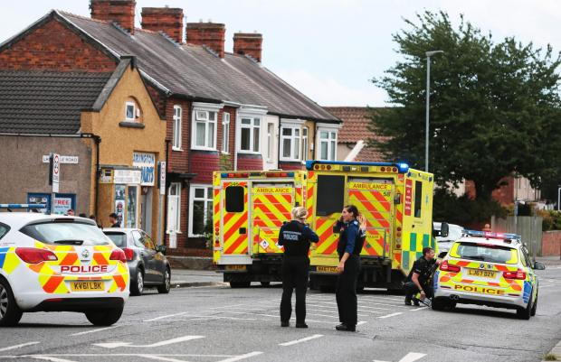 The Northern Echo: Emergency services at the scene of the collision on Neasham Road, in Darlington