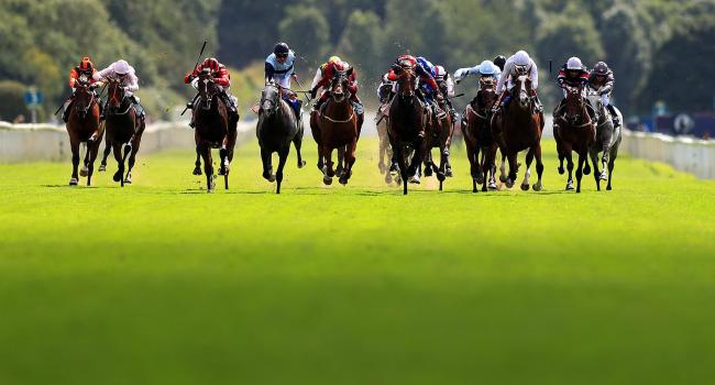 Tamreer ridden by Ben Curtis (sixth right) wins The Sky Bet Stakes yesterday Picture: Simon Cooper/PA Wire.