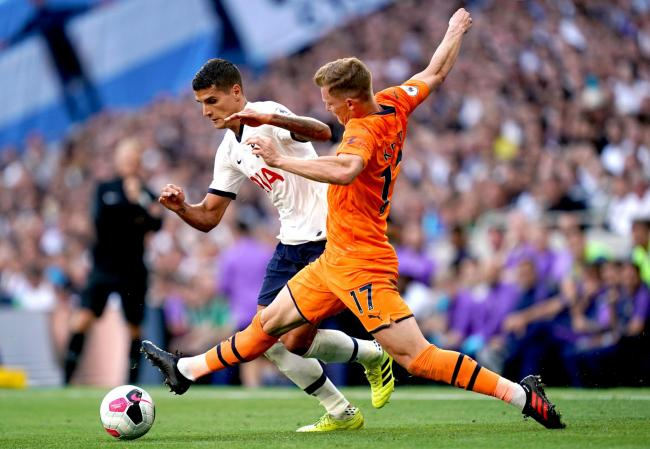 Emil Krafth challenges Erik Lamela during Newcastle's 1-0 win at Tottenham (Picture: John Walton/PA Wire)