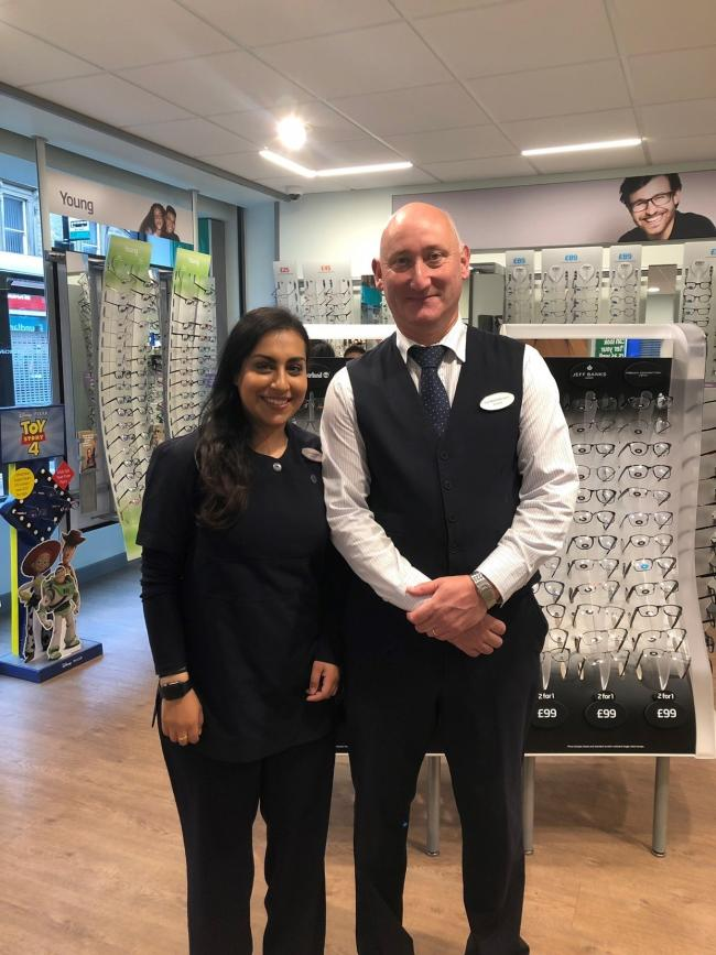 Directors Maria Sattar and Tim Mitchison who are behinmd opening of new Barnard Castle branch of Specsavers in Barnard Castle, which sees its official opening on Saturday