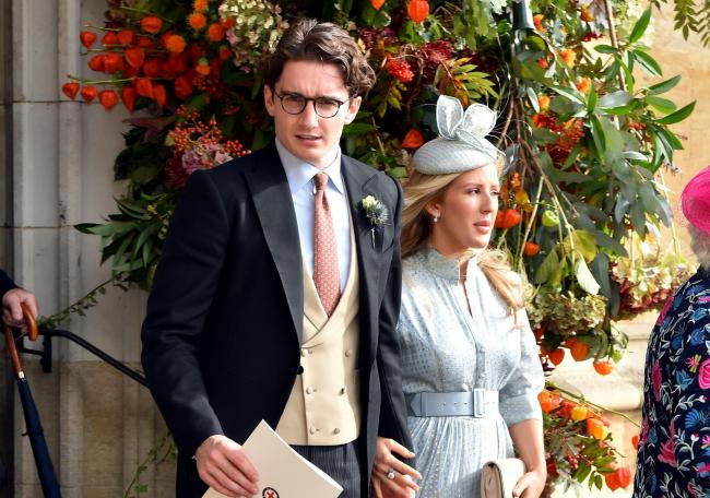Caspar Jopling and Ellie Goulding after the wedding of Princess Eugenie to Jack Brooksbank at St George's Chapel in Windsor Castle 		        Picture: MATT CROSSICK/PA WIRE