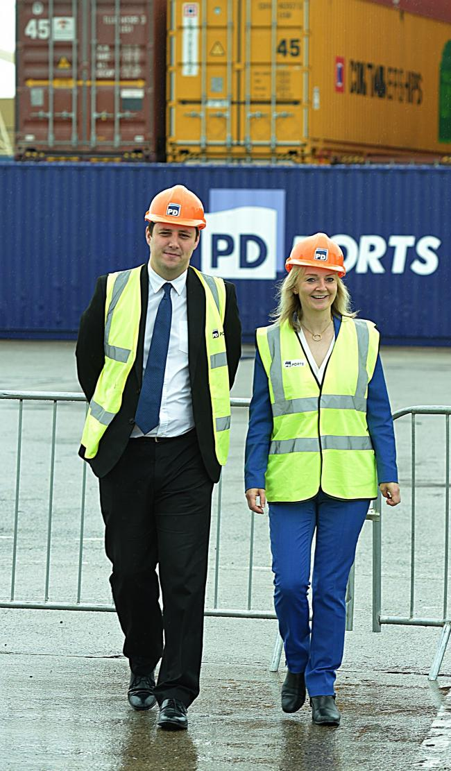 Secretary of State for International Trade Liz Truss MP joined Mayor Ben Houchen, MP Simon Clark and Frans Calje CEO of PD Ports on a visit to PD Ports Teesport 2/8/19  Pic Doug Moody Photography.